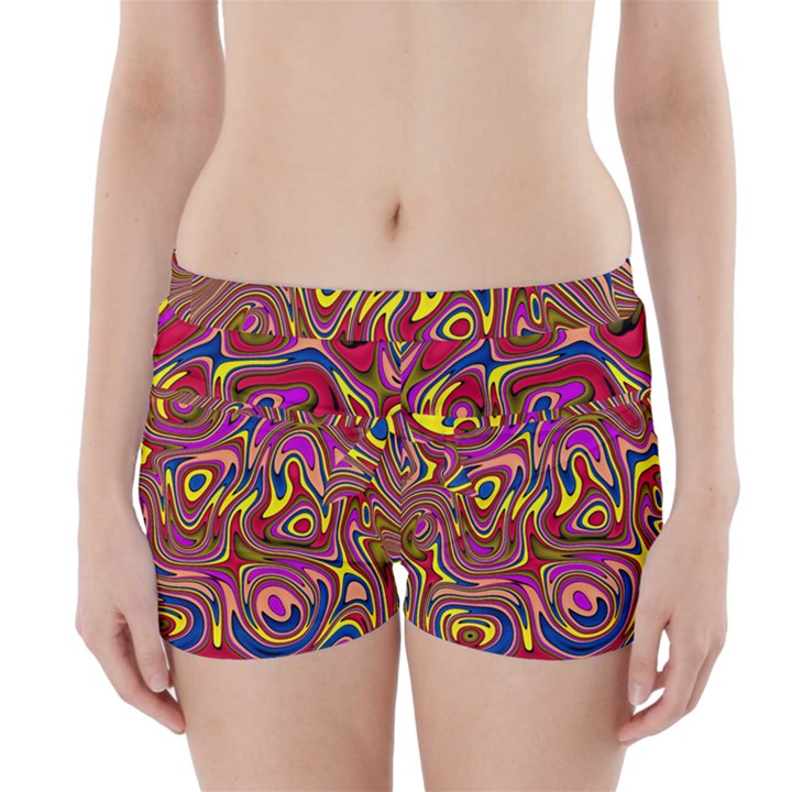 Abstract Shimmering Multicolor Swirly Boyleg Bikini Wrap Bottoms
