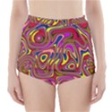 Abstract Shimmering Multicolor Swirly High-Waisted Bikini Bottoms View1