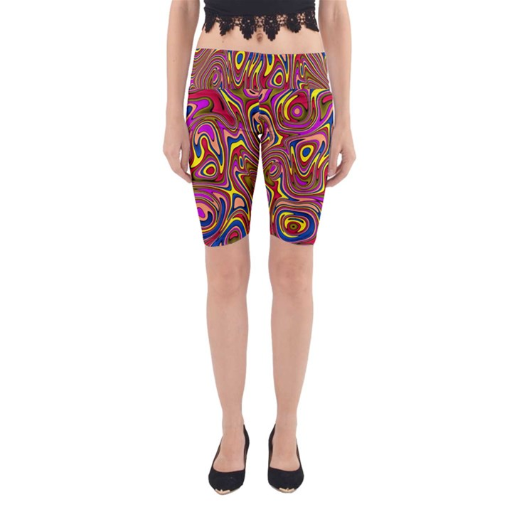 Abstract Shimmering Multicolor Swirly Yoga Cropped Leggings