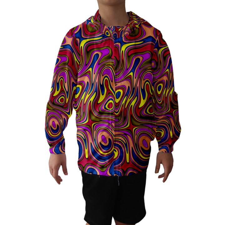 Abstract Shimmering Multicolor Swirly Hooded Wind Breaker (Kids)