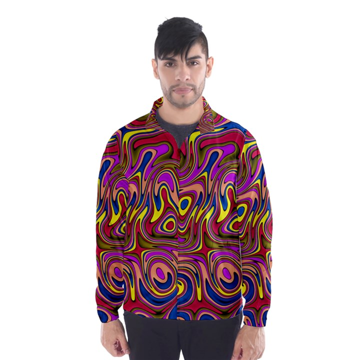 Abstract Shimmering Multicolor Swirly Wind Breaker (Men)