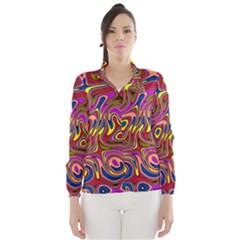 Abstract Shimmering Multicolor Swirly Wind Breaker (women)