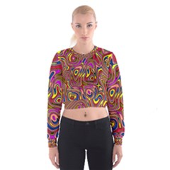 Abstract Shimmering Multicolor Swirly Women s Cropped Sweatshirt