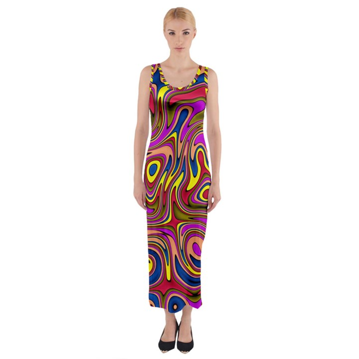 Abstract Shimmering Multicolor Swirly Fitted Maxi Dress