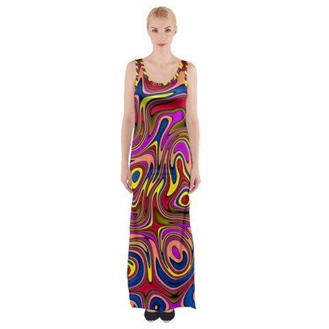 Abstract Shimmering Multicolor Swirly Maxi Thigh Split Dress