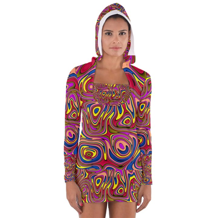 Abstract Shimmering Multicolor Swirly Women s Long Sleeve Hooded T-shirt