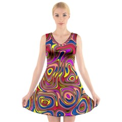 Abstract Shimmering Multicolor Swirly V-Neck Sleeveless Skater Dress