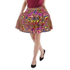 Abstract Shimmering Multicolor Swirly A Line Pocket Skirt