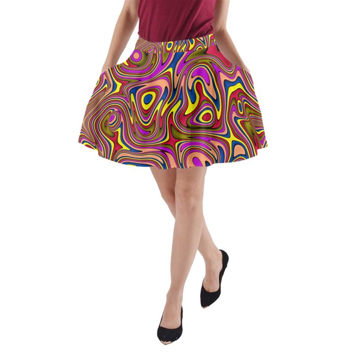 Abstract Shimmering Multicolor Swirly A-Line Pocket Skirt