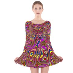 Abstract Shimmering Multicolor Swirly Long Sleeve Velvet Skater Dress