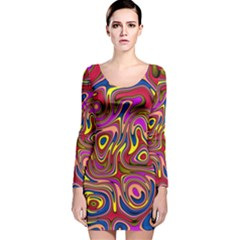 Abstract Shimmering Multicolor Swirly Long Sleeve Velvet Bodycon Dress