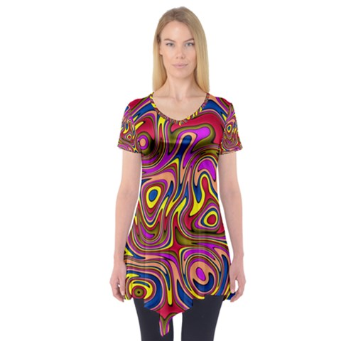 Abstract Shimmering Multicolor Swirly Short Sleeve Tunic