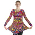 Abstract Shimmering Multicolor Swirly Long Sleeve Tunic  View1