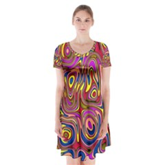 Abstract Shimmering Multicolor Swirly Short Sleeve V-neck Flare Dress
