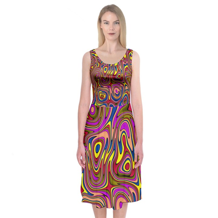 Abstract Shimmering Multicolor Swirly Midi Sleeveless Dress