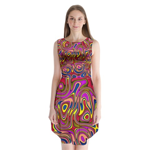 Abstract Shimmering Multicolor Swirly Sleeveless Chiffon Dress