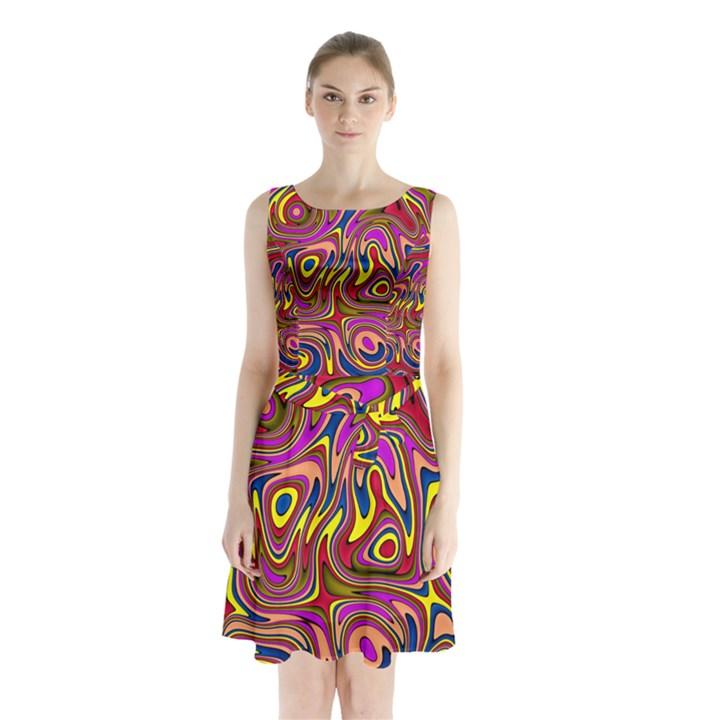 Abstract Shimmering Multicolor Swirly Sleeveless Chiffon Waist Tie Dress