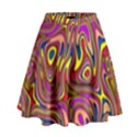 Abstract Shimmering Multicolor Swirly High Waist Skirt View1