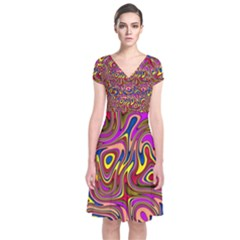 Abstract Shimmering Multicolor Swirly Short Sleeve Front Wrap Dress