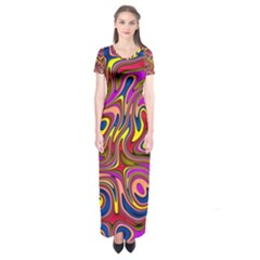 Abstract Shimmering Multicolor Swirly Short Sleeve Maxi Dress