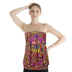 Abstract Shimmering Multicolor Swirly Strapless Top