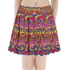 Abstract Shimmering Multicolor Swirly Pleated Mini Skirt