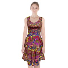Abstract Shimmering Multicolor Swirly Racerback Midi Dress
