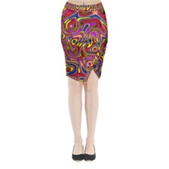 Abstract Shimmering Multicolor Swirly Midi Wrap Pencil Skirt