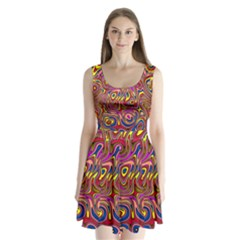 Abstract Shimmering Multicolor Swirly Split Back Mini Dress