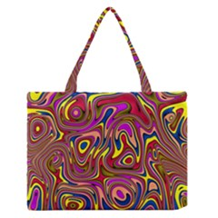 Abstract Shimmering Multicolor Swirly Medium Zipper Tote Bag