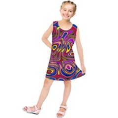 Abstract Shimmering Multicolor Swirly Kids  Tunic Dress