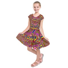 Abstract Shimmering Multicolor Swirly Kids  Short Sleeve Dress