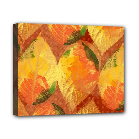 Fall Colors Leaves Pattern Canvas 10  x 8