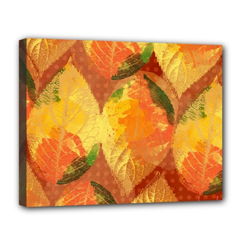 Fall Colors Leaves Pattern Canvas 14  x 11