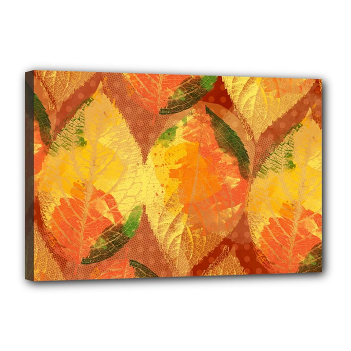 Fall Colors Leaves Pattern Canvas 18  x 12