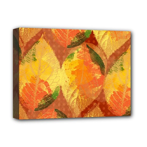 Fall Colors Leaves Pattern Deluxe Canvas 16  X 12