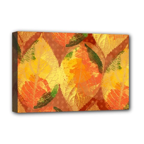 Fall Colors Leaves Pattern Deluxe Canvas 18  x 12