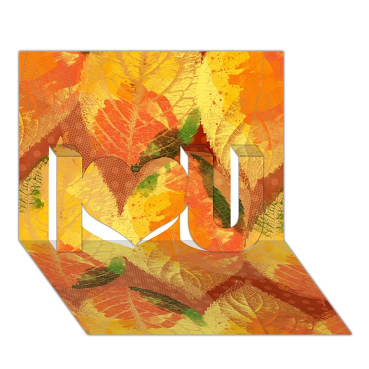 Fall Colors Leaves Pattern I Love You 3D Greeting Card (7x5)