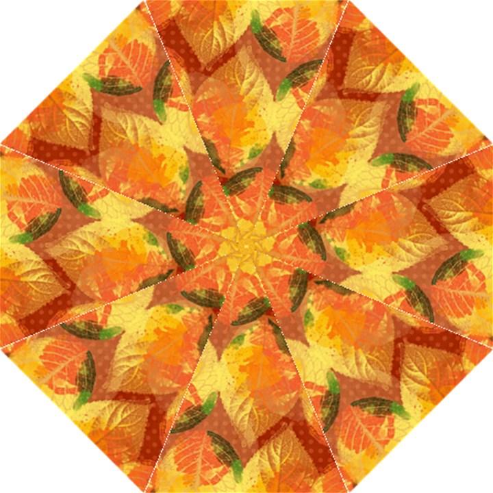 Fall Colors Leaves Pattern Hook Handle Umbrellas (Large)