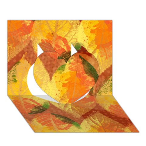 Fall Colors Leaves Pattern Heart 3D Greeting Card (7x5)