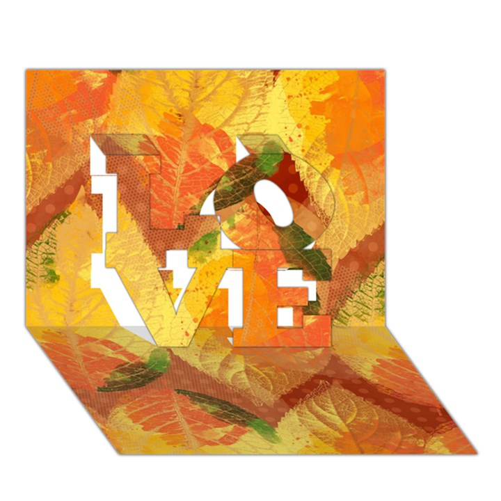Fall Colors Leaves Pattern LOVE 3D Greeting Card (7x5)