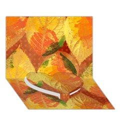 Fall Colors Leaves Pattern Heart Bottom 3D Greeting Card (7x5)