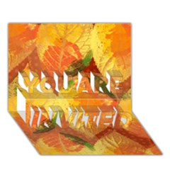 Fall Colors Leaves Pattern YOU ARE INVITED 3D Greeting Card (7x5)