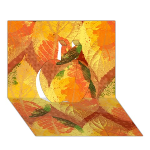 Fall Colors Leaves Pattern Apple 3D Greeting Card (7x5)