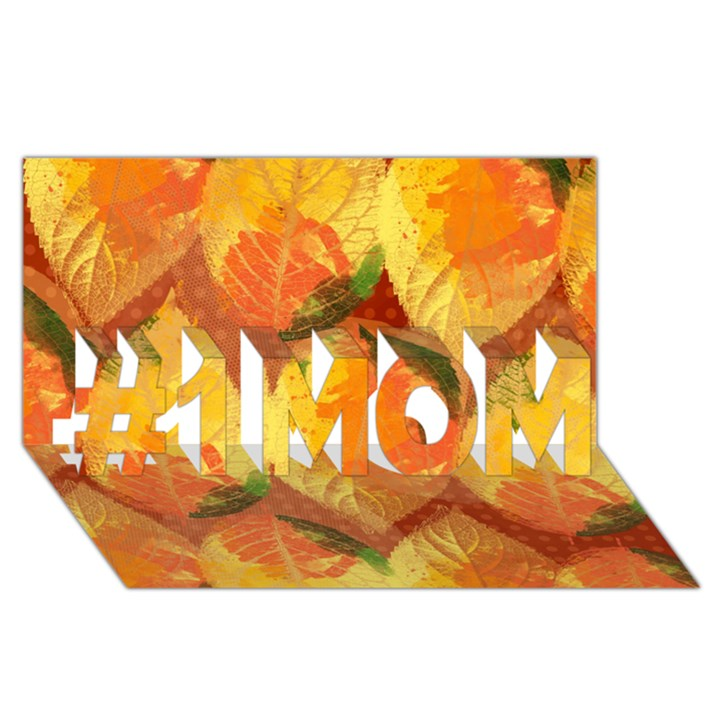 Fall Colors Leaves Pattern #1 MOM 3D Greeting Cards (8x4)
