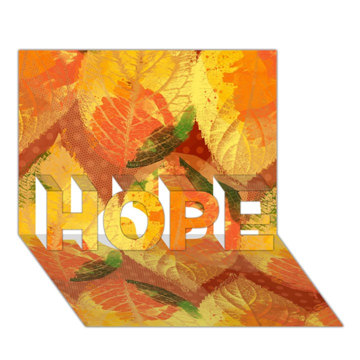 Fall Colors Leaves Pattern HOPE 3D Greeting Card (7x5)