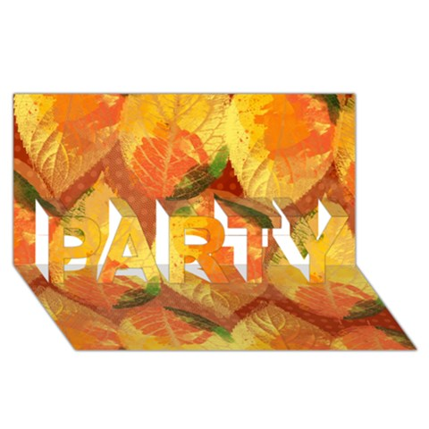 Fall Colors Leaves Pattern PARTY 3D Greeting Card (8x4)