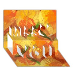 Fall Colors Leaves Pattern Miss You 3d Greeting Card (7x5)