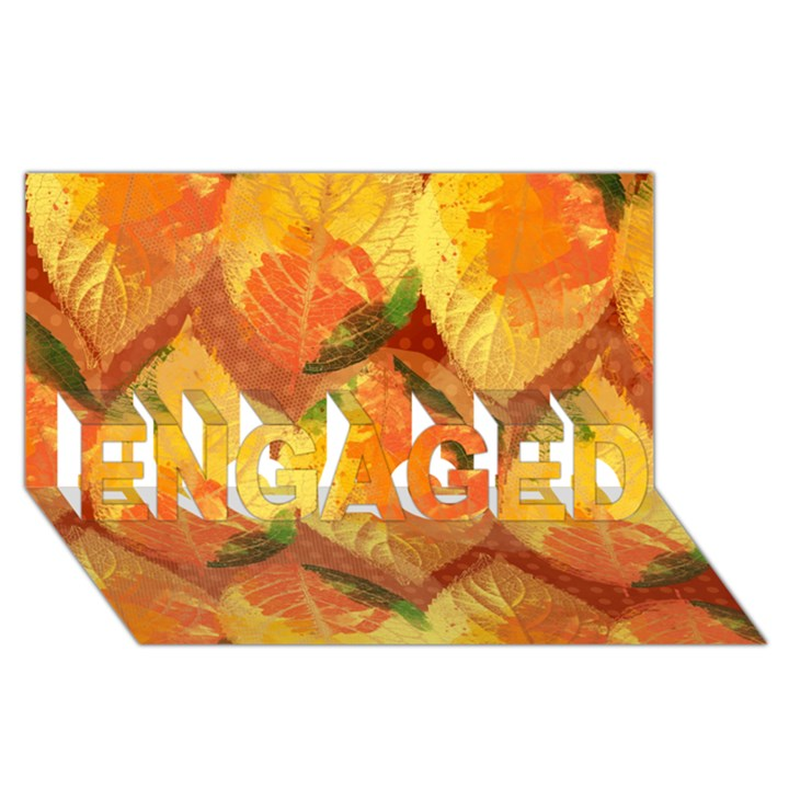 Fall Colors Leaves Pattern ENGAGED 3D Greeting Card (8x4)