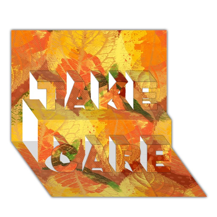 Fall Colors Leaves Pattern TAKE CARE 3D Greeting Card (7x5)